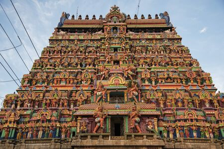devotee: Colourful architecture in temple of South India