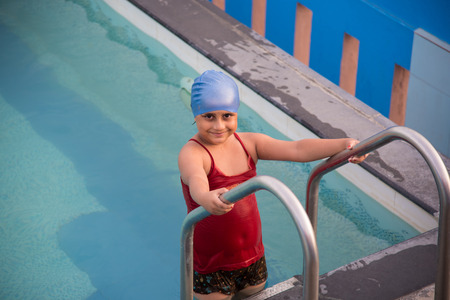 A little girl  in a swimming pool at Chidambaram,Tamilnadu,India Stock Photo