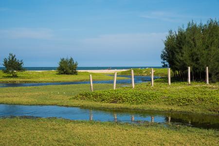 natue: Beautiful sea beach with small water flow at Chidambaram,Tamilnadu,India Stock Photo