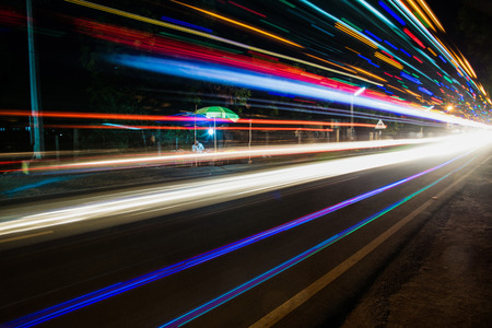 light trail: Vehicle light trail on the road at Chidambaram,Tamilnadu,Inda.