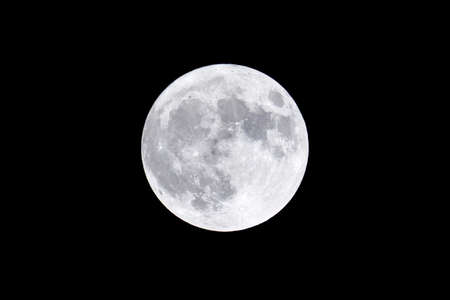 A full moon floating in the night sky.