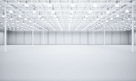 Clean White empty warehouse 3D rendering Stock Photo