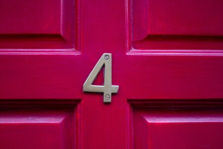 Dark red house number 4 - lucky carved wooden front door