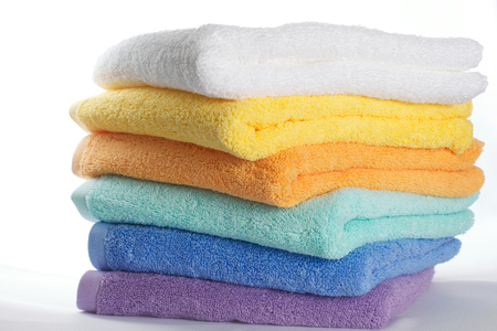 pile up: Colorful towels Stock Photo
