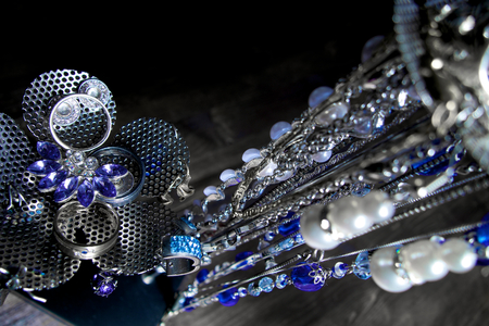 Luxury jewellery black, silver and blue photo