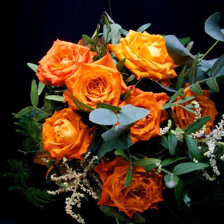 Orange wedding colourful bouquet of flowers photo