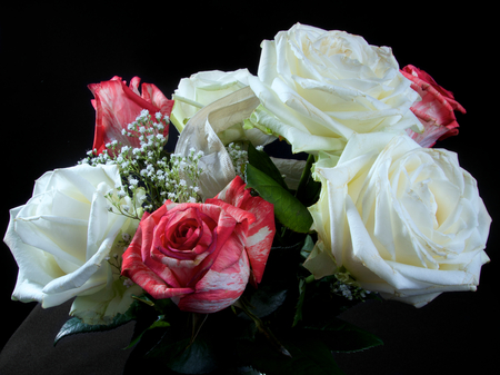 Red and white wedding colourful bouquet of flowers photo