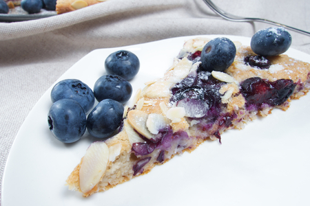 carb: Low carb healthy blueberries cake with almond Stock Photo