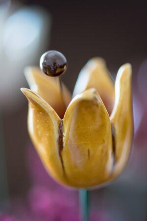 DIY concept. Ceramic handmade decorative glazed tulip...