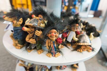 DIY concept. Ceramic handmade decorative icelandic trolls..