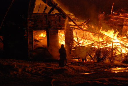 pyromania: conflagration  Burning firefighters fire, people on fire Stock Photo