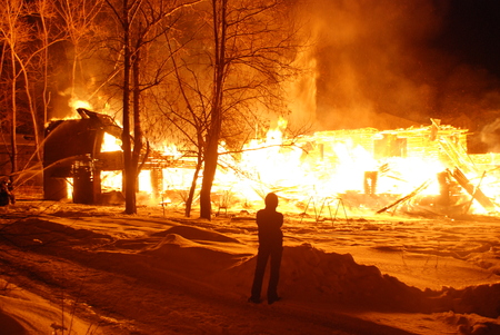 conflagration Burning firefighters fire, people on fire Stock Photo
