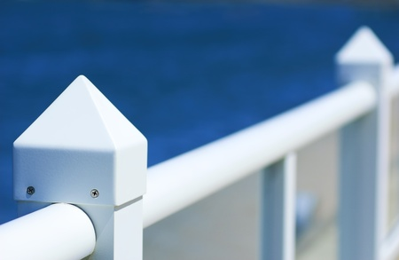 handrails: White pier handrails Stock Photo