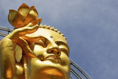 buddha head: Big Golden Buddha with Lotus Flower at Da Lat, Vietnam