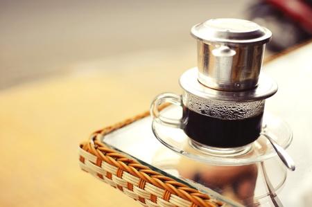 east espresso: Vietnamese Drip Coffee on a Coffe table