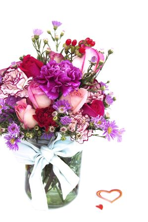 Valentine Fresh Flower Bouquet in a Glass Jar photo