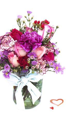 Valentine Fresh Flower Bouquet in a Glass Jar photo