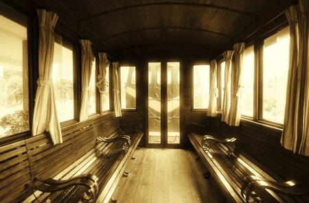 wood railway: Vintage Train Salon Inside Stock Photo