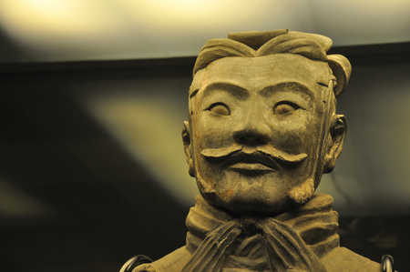 In December 2012, close up terra cotta warrior face of Qin dynasty in Xian, Shaanxi province, China