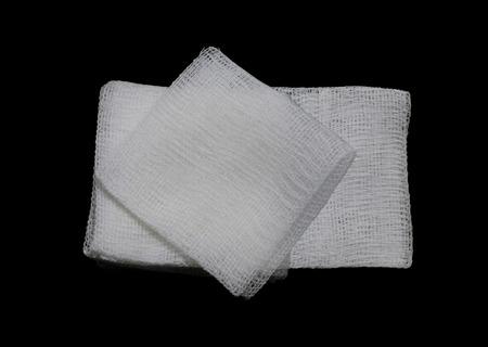gauze pads on the black background