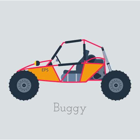 dunes: Off - Road Buggy 4x4 illustration. Buggy car on gray background.