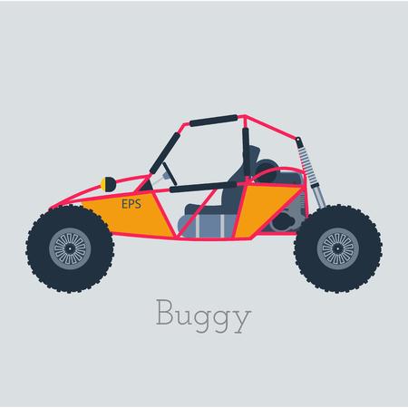 Off - ilustración de la carretera buggy 4x4. coche ligero sobre fondo gris.