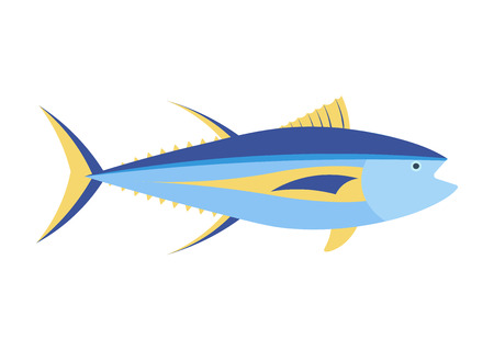 Yellow fin tuna cartoon illustration.