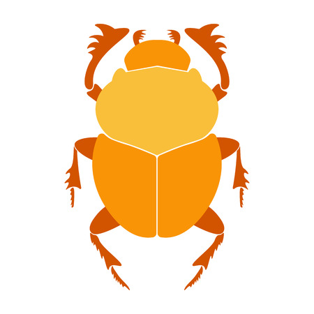 scarab: Egypt scarab beetle illustration.