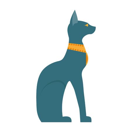 cat goddess: Egypt cat flat vector illustration. Egypt cat vector icon illustration. Egypt cat isolated on white background. Egypt cat isolated vector. Illustration