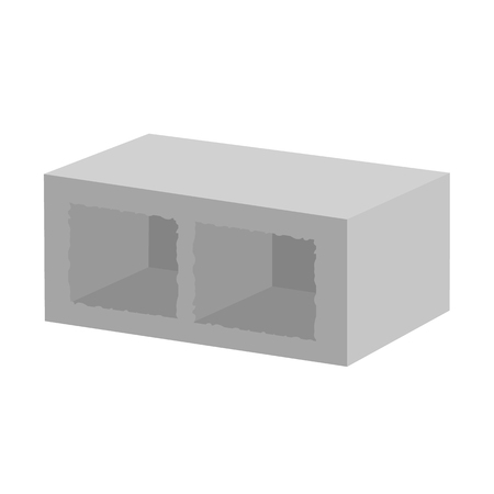 concrete block: Vector illustration concrete building block for architectural works. Building block vector illustration. Concrete block on the white background. Cement block flat vector