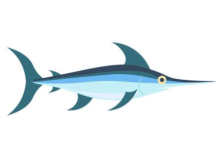 vector de pez espada, aislado en fondo blanco