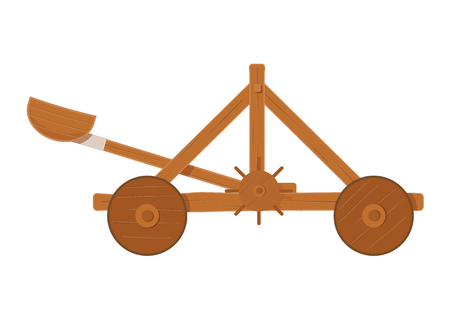 turrets: old medieval wooden catapult shooting stones vector illustration . catapult on white background. wooden catapult isolated vector. Illustration