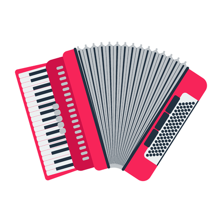 overtone: Musical instrument classical accordion, isolated on white background. Accordion vector illustration. Accordion isolated vector