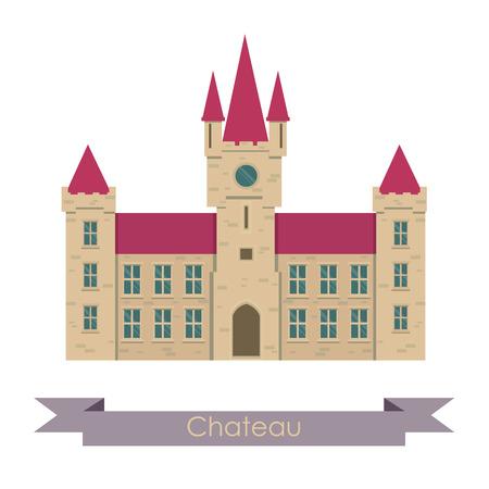 Vector chateau illustration. Chateau isolated on white background. Chateau vector. Chateau illustration. House isolated vector Illustration