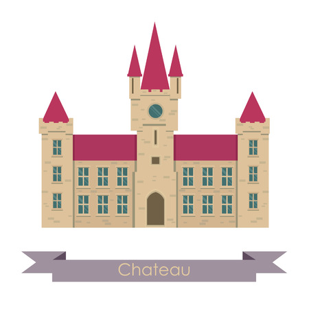 realistically: Vector chateau illustration. Chateau isolated on white background. Chateau vector. Chateau illustration. House isolated vector Illustration