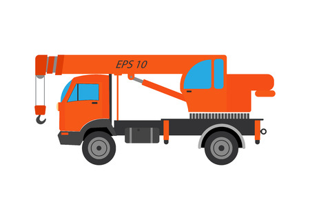 cartwheel: Truck crane vector illustration. Truck crane on white background. Truck crane vector. Crane illustration. Truck crane vector Illustration