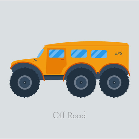 off road vehicle: Cross country vechicle vector illustration . Isolated atv truck. Off Road Vehicle Outdoor illustration