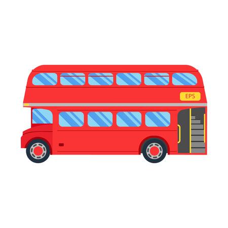 english bus: Double decker vecteur de bus rouge illustration, design plat. Ville transport public véhicule de service rétro bus, Double decker Sur fond blanc