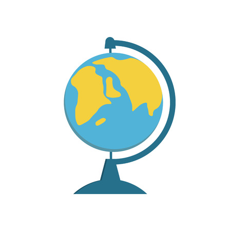 desk toy: School Globe -  model of  Earth. Model of celestial sphere of planet. Object of learning. Icon of globe. Sphere map of  continents and oceans