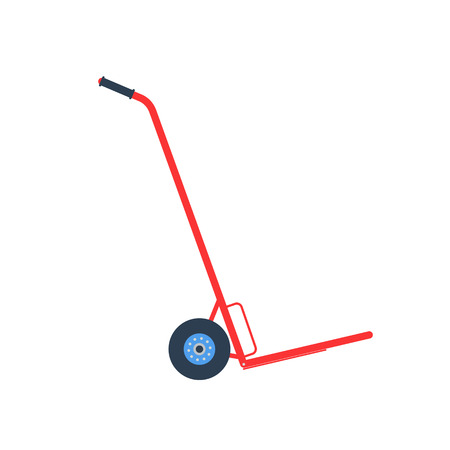 flan: Vector icon - illustration of hand truck icon isolated on white background. Flan style hand truck.