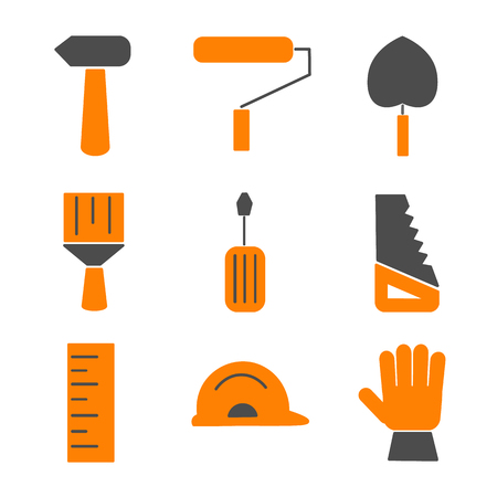 remodel: Flat house remodel. Set of house renovation icons. Tools, equipment and furniture. Flat style.
