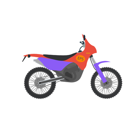 bicicleta vector: Vector ilustración de moto de motocross. Moto aislado en el fondo blanco. través de la bici, moto deportiva del vector. Ejemplo de la moto moto moto. Motocrós de la bici del vector aislado