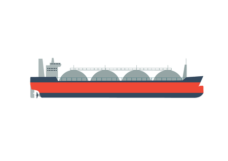 Vector illustration gas tanker, flat design. Gas tanker isolated on white background. Tanker vector. Gas tanker isolated vector