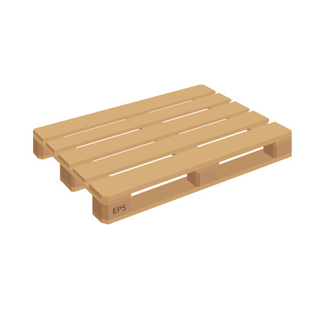 removals boxes: Wooden pallet isolated vector. Wooden pallet illustration in perspective, front and side view with dimensions. Illustration