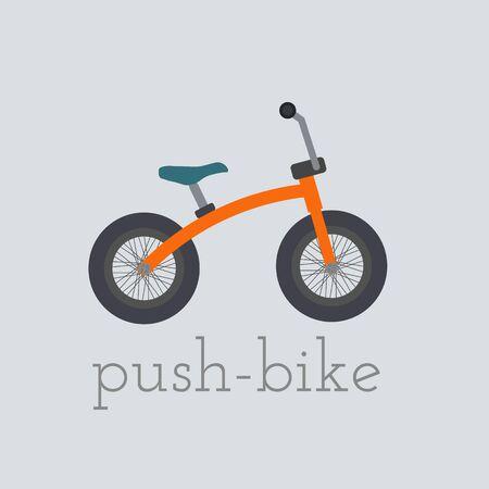 Wektor Push-bike ilustracji. Push-bike na białym tle. pchania roweru wektor. pchania rowerów ilustracji. Rower wyizolowanych wektorowe