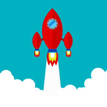 spacecraft: Spaceship. Flying a spaceship in outer space. spacecraft launch. Red spaceship takes off.Space Exploration. Illustration