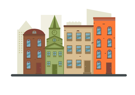 main street: Lovely detailed vector old town village main street illustration with retro victorian style building facades Illustration