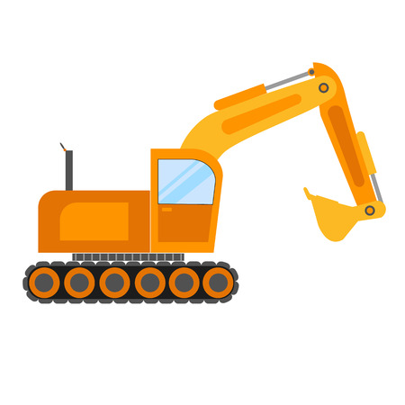 back hoe: Illustration of excavator on white background.Excavator vector icon isolated.Building excavator truck vector.