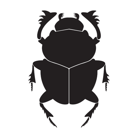 Egypt scarab  silhouette vector illustration. Scarab silhouette on white background. Scarab beetle vector. Scarab illustration.