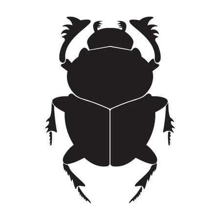 Egypte scarabée silhouette illustration vectorielle. Scarab silhouette sur fond blanc. vecteur coléoptère Scarab. illustration Scarab. Vecteurs